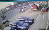 Guy Gets Smashed Into Glass Window by Car