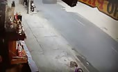 Motorcyclist gets his head crushed under the Bus wheels