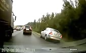 Russian drunk driver on highway