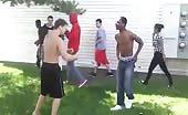 Black and white boy street fighting