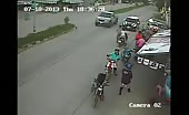 Motorcyclist hit by a car in china