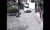 Young girl is run over by the car