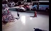 Woman got run over by bus