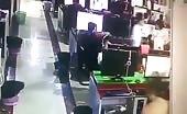 Live murder CCTV footage office