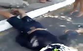 Biker dead on road with broken leg