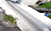 Speeding vehicle falls off the bridge and man impaled