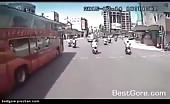 Man Gets His Head Run Over by Bus