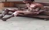 Crazy naked man on streets
