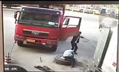 Man tossed into air by exploding tire
