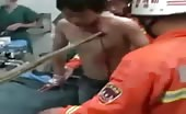 Chinese man Impaled with a Stick