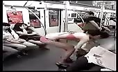 Asian girl changing clothes in train