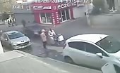 CCTV footage of a nasty car hit