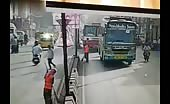 Indian sweeper runs over by a bus