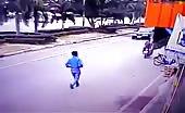 Motorbike thief gets instant Karma