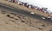Saudi's guys airborne after drifting goes wrong.