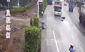 Horrific Motorcycle Accident Crashing Straight Into Big Bus