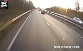 Truck ploughs full speed into the back of a queuing car