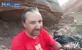 Mountain climber jumps and gets nasty foot injury.