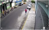 Lady dressed in red cut somewhere around cruiser