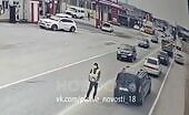 Driver ran into a man who gathering cash in the street