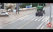 Scooterist makes a truck crash