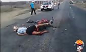Dead Motorbike Rider on Freeway