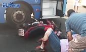 Biker Wearing Shorts Gets Crashed Into Bus