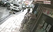 Old Woman Is Slammed By A Car And Crashes Into A Parked Van