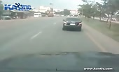 Unfortunate Biker Knocked Off By One Car