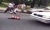 Crazy Women Fighting Man In Street
