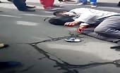 Motorcyclist Leg Runs Over By Bus