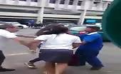 Shoplifter Girl Beaten Badly